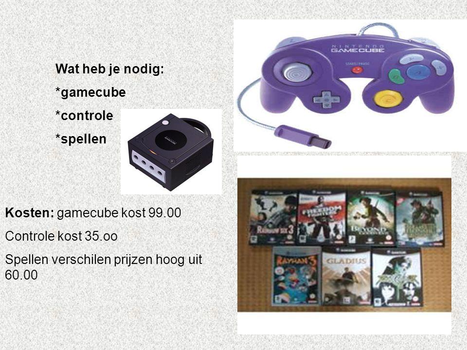 Wat heb je nodig: *gamecube *controle *spellen Kosten: gamecube kost 99.00 Controle kost 35.oo Spellen verschilen prijzen hoog uit 60.00 Vul hier in,