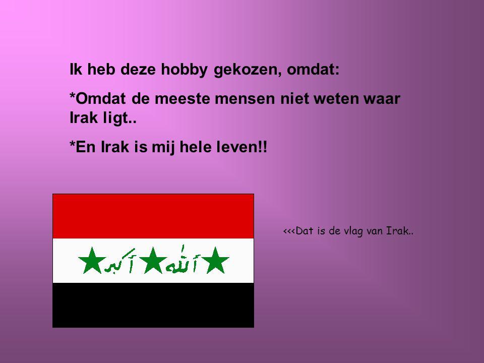 Ik heb deze hobby gekozen, omdat: *Omdat de meeste mensen niet weten waar Irak ligt..