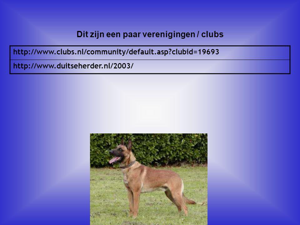 http://www.clubs.nl/community/default.asp?clubid=19693 http://www.duitseherder.nl/2003/ Dit zijn een paar verenigingen / clubs Als er geen verenigingen zijn, klik dan met de rechter muisknop op de 5e dia; klik op knippen