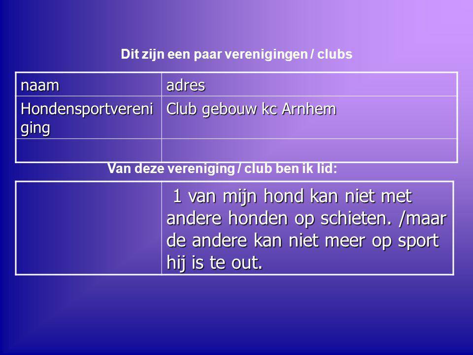 naamadres Hondensportvereni ging Club gebouw kc Arnhem Dit zijn een paar verenigingen / clubs Van deze vereniging / club ben ik lid: 1 van mijn hond k