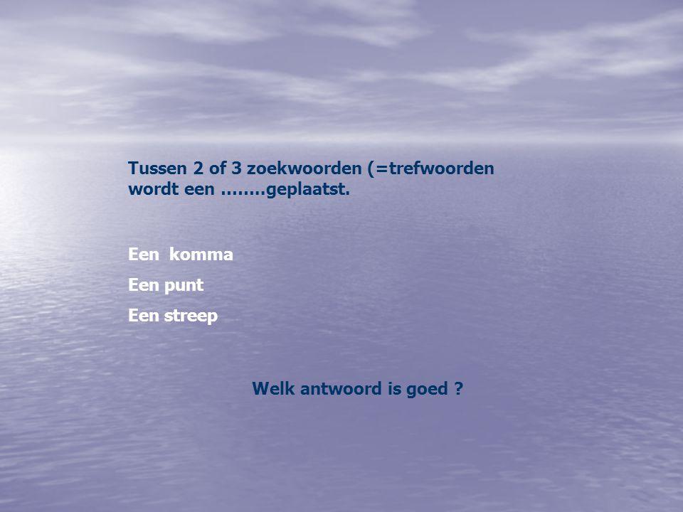 Tussen 2 of 3 zoekwoorden (=trefwoorden wordt een ……..geplaatst. Een komma Een punt Een streep Welk antwoord is goed ?