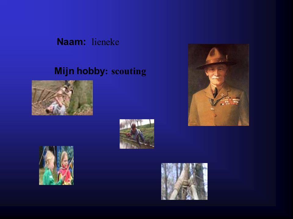 Naam: lieneke Mijn hobby : scouting Klik op Naam .