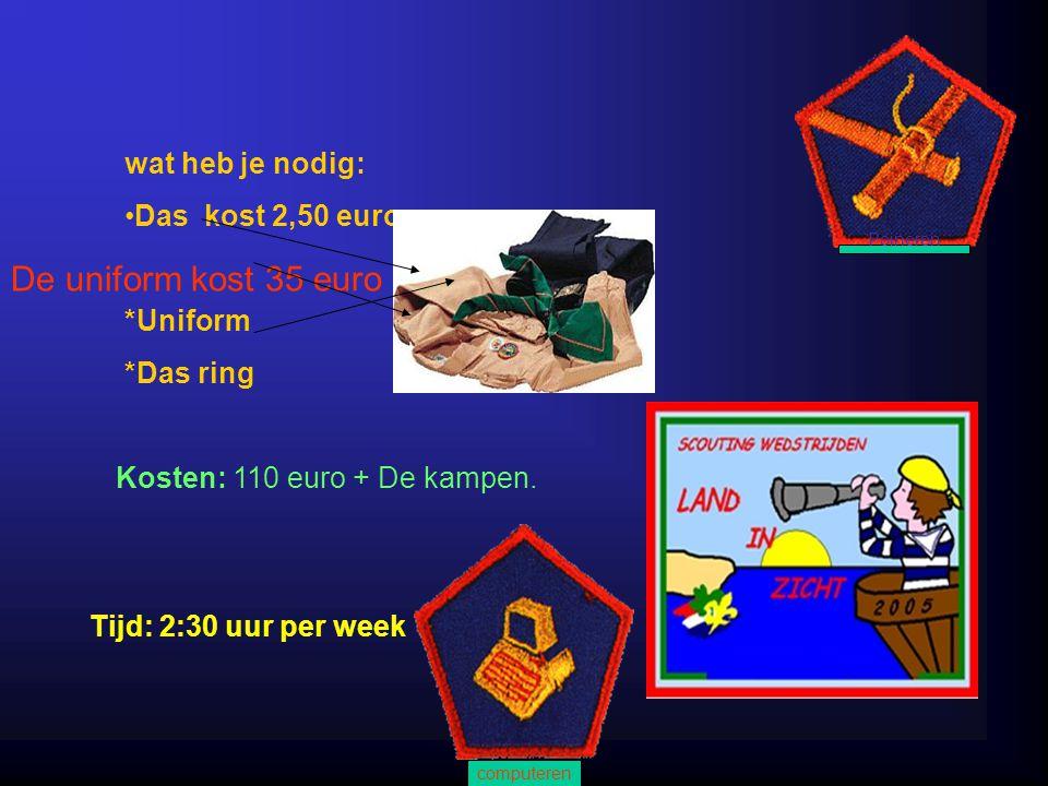 wat heb je nodig: Das kost 2,50 euro *Uniform *Das ring Kosten: 110 euro + De kampen.
