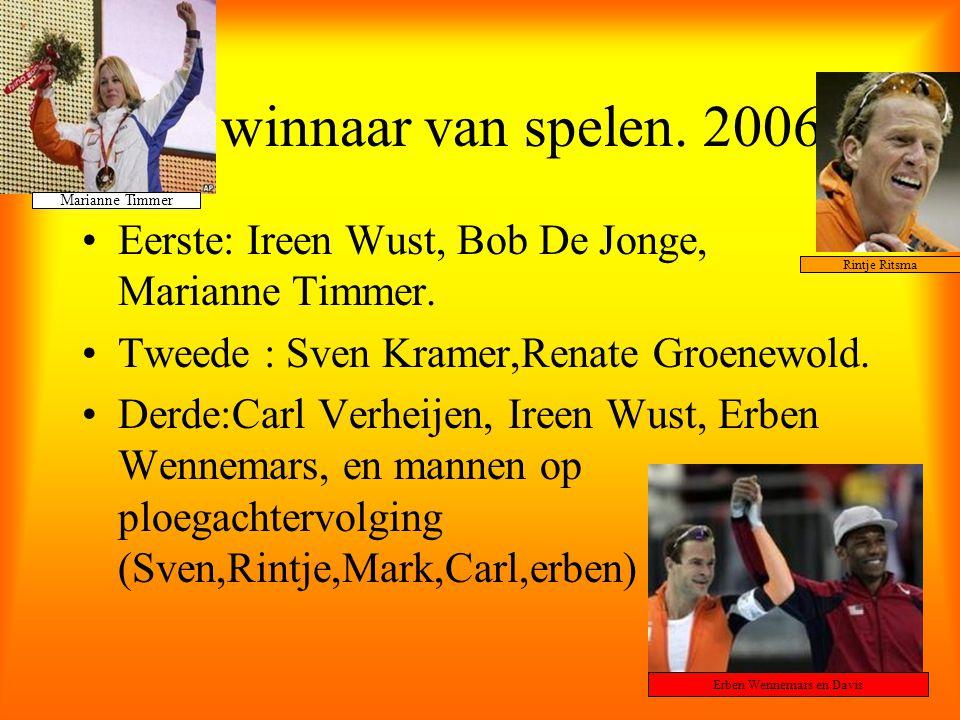 De winnaar van spelen. 2006 Eerste: Ireen Wust, Bob De Jonge, Marianne Timmer. Tweede : Sven Kramer,Renate Groenewold. Derde:Carl Verheijen, Ireen Wus