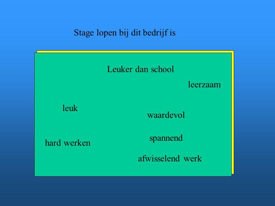 Stage lopen bij dit bedrijf is leuk waardevol spannend leerzaam hard werken afwisselend werk Geef je mening: Verwijder de woorden die niet waar zijn.