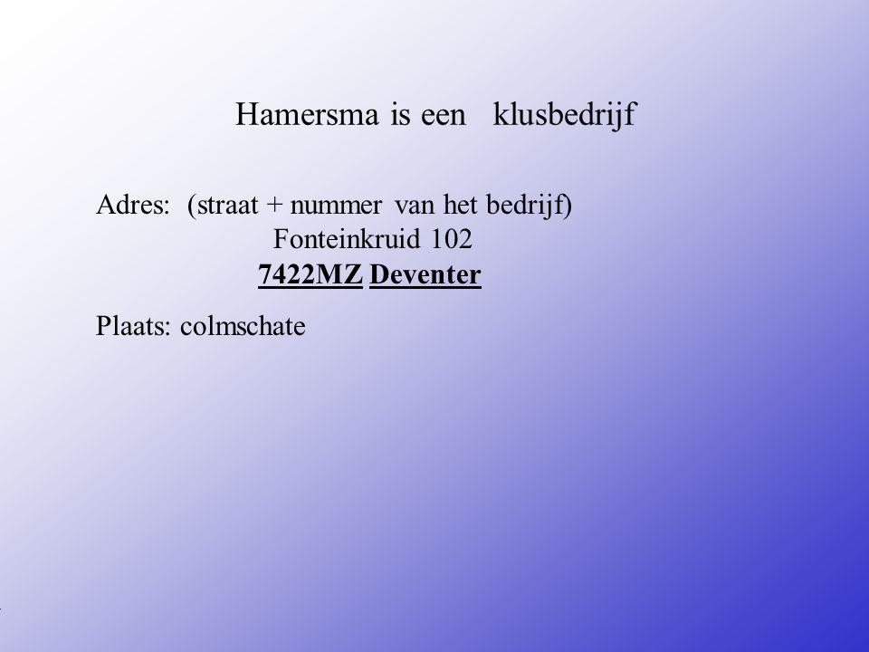 Hamersma is een klusbedrijf Adres: (straat + nummer van het bedrijf) Fonteinkruid 102 7422MZ Deventer Plaats: colmschate **Wat voor bedrijf is het .