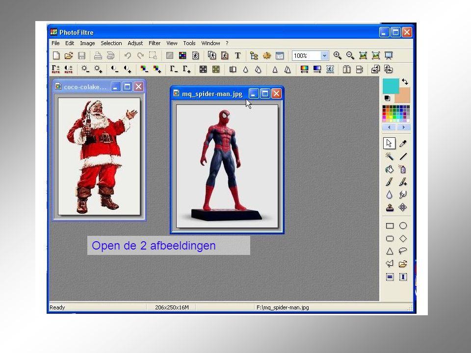 Klik op de afbeelding van de kerstman. Deze afbeelding wordt nu donkerblauw Klik op de lasso