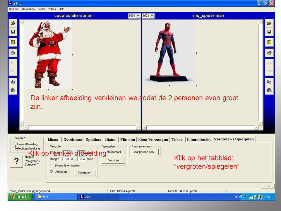 """De linker afbeelding verkleinen we,zodat de 2 personen even groot zijn. Klik op het tabblad: """"vergroten/spiegelen"""" Klik op """"Linker afbeelding"""""""