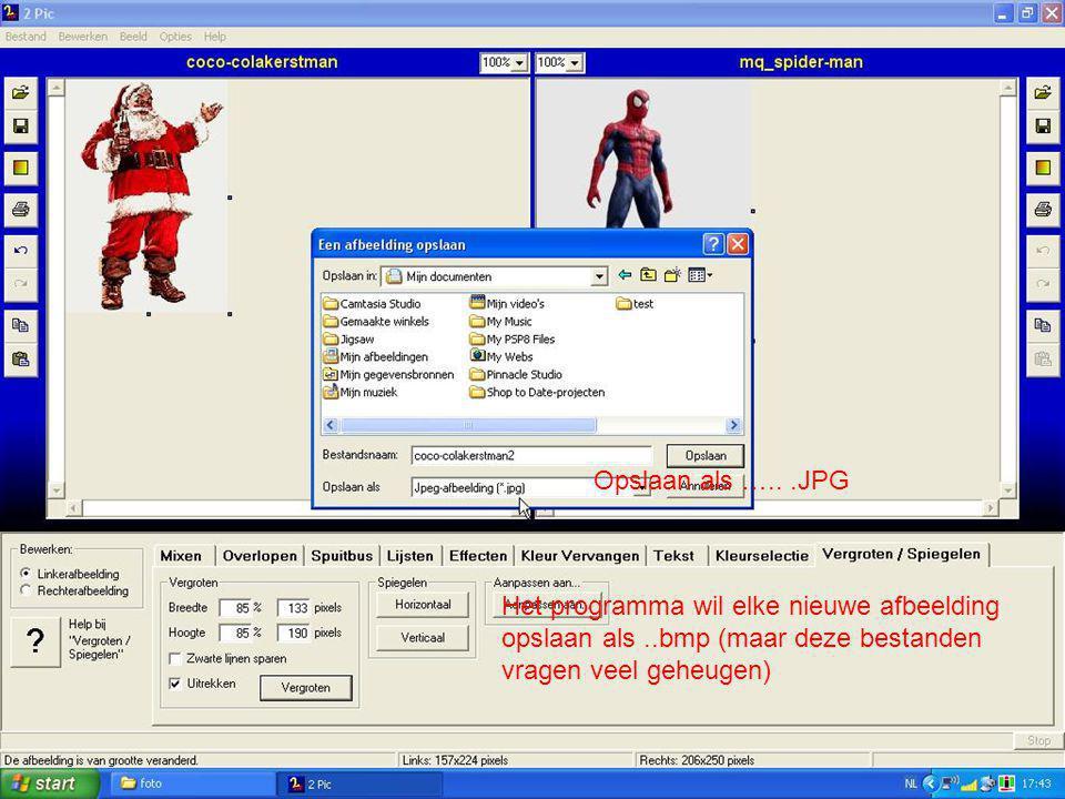 Opslaan als …...JPG Het programma wil elke nieuwe afbeelding opslaan als..bmp (maar deze bestanden vragen veel geheugen)