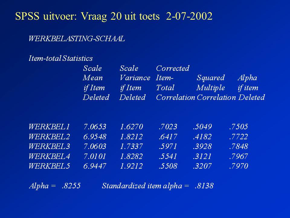 SPSS uitvoer: Vraag 20 uit toets 2-07-2002