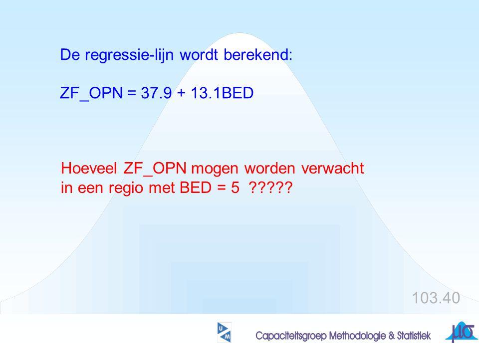 De regressie-lijn wordt berekend: ZF_OPN = 37.9 + 13.1BED Hoeveel ZF_OPN mogen worden verwacht in een regio met BED = 5 ????? 103.40