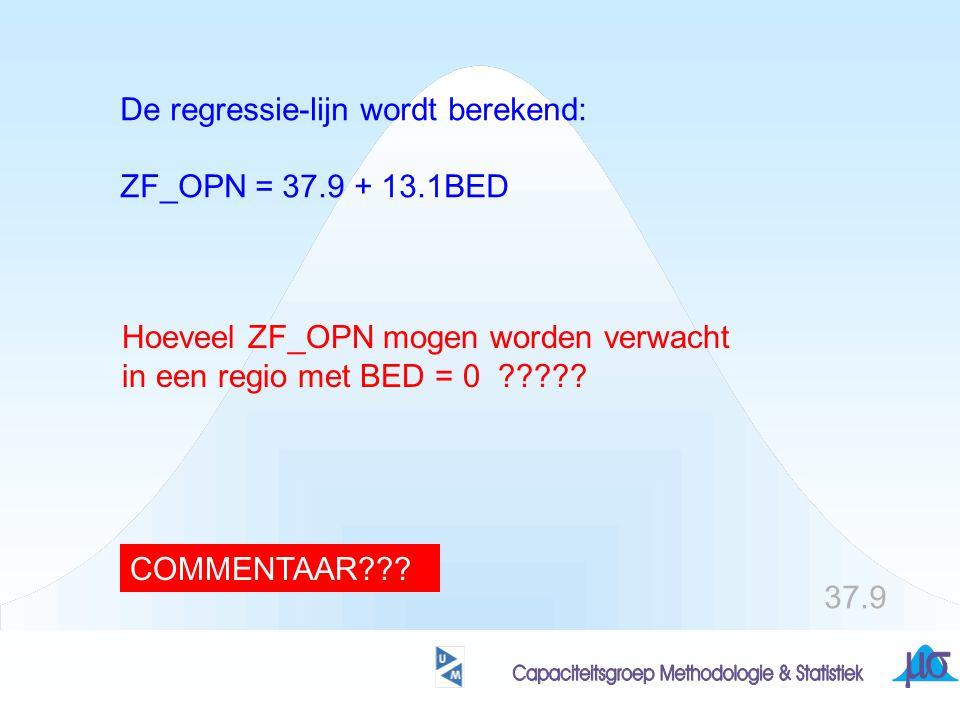 De regressie-lijn wordt berekend: ZF_OPN = 37.9 + 13.1BED Hoeveel ZF_OPN mogen worden verwacht in een regio met BED = 0 ????? 37.9 COMMENTAAR???