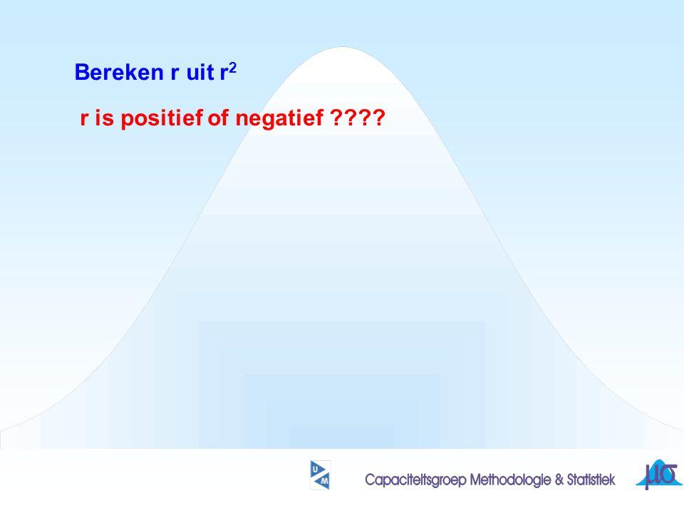 Bereken r uit r 2 r is positief of negatief ????