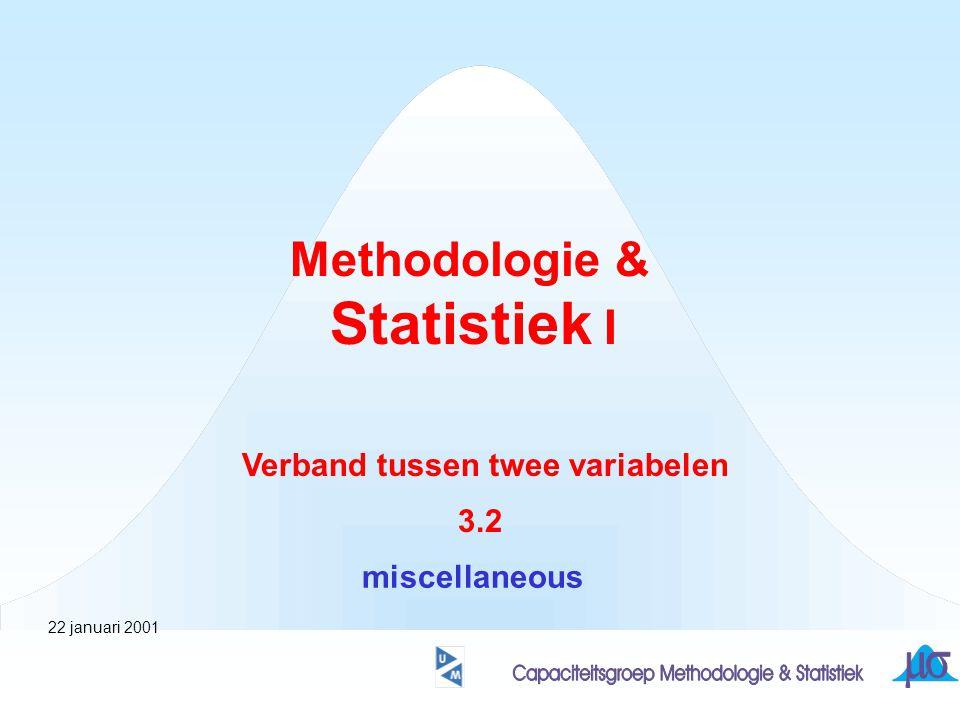 Methodologie & Statistiek I Verband tussen twee variabelen 3.2 miscellaneous 22 januari 2001