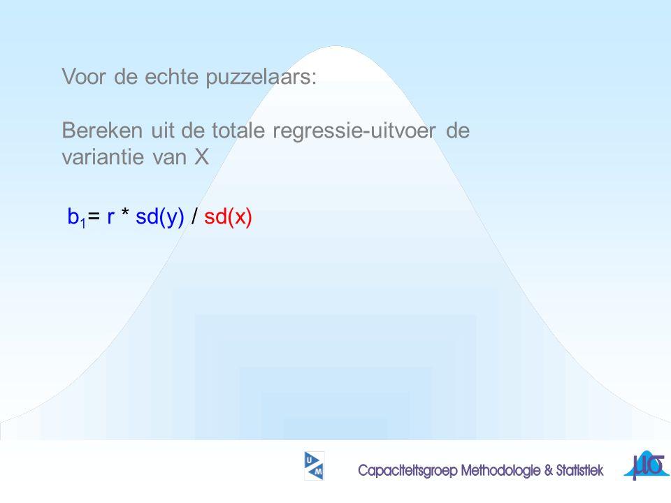 Voor de echte puzzelaars: Bereken uit de totale regressie-uitvoer de variantie van X b 1 = r * sd(y) / sd(x)