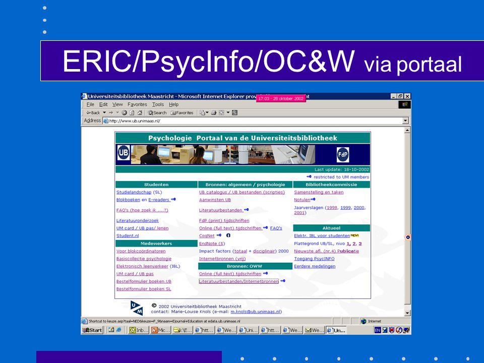 ERIC/PsycInfo/OC&W via portaal