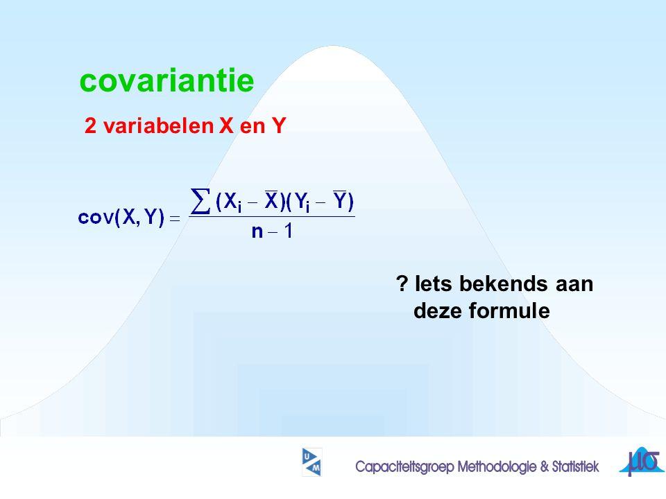 covariantie 2 variabelen X en Y ? Iets bekends aan deze formule