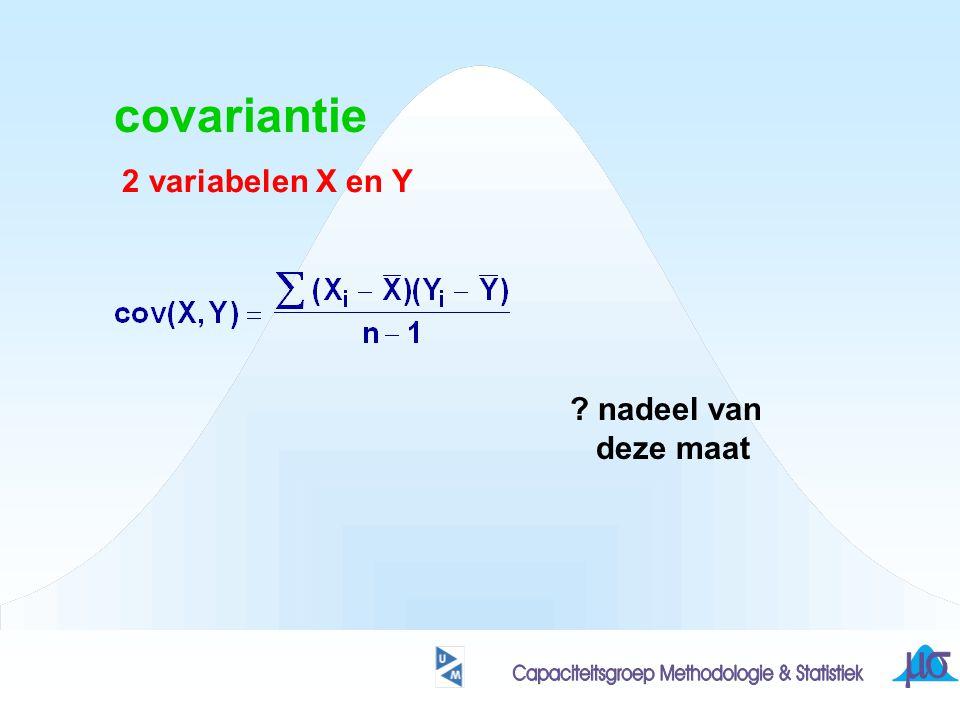 covariantie 2 variabelen X en Y ? nadeel van deze maat