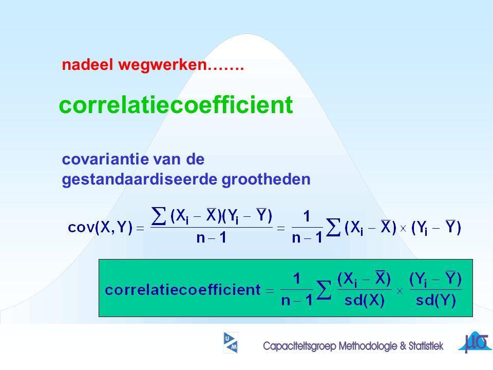 correlatiecoefficient nadeel wegwerken……. covariantie van de gestandaardiseerde grootheden