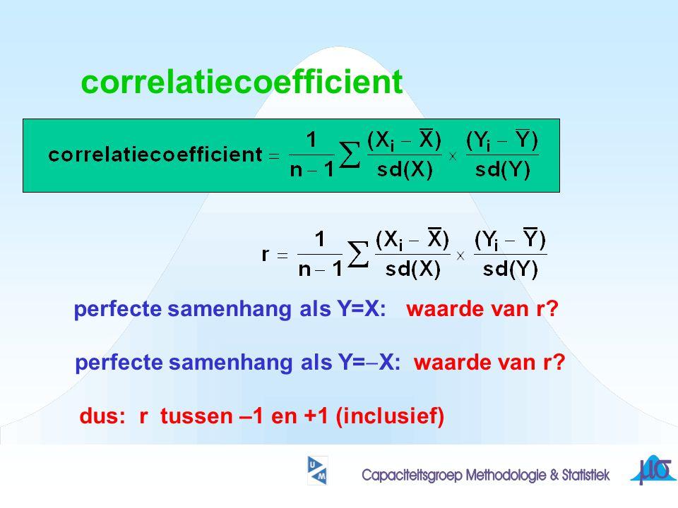 correlatiecoefficient perfecte samenhang als Y=X: waarde van r? perfecte samenhang als Y=  X: waarde van r? dus: r tussen –1 en +1 (inclusief)