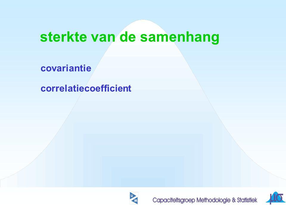 sterkte van de samenhang covariantie correlatiecoefficient