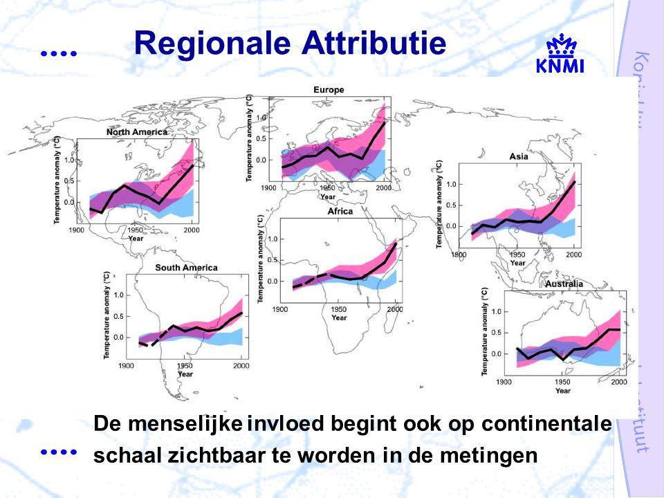 Regionale Attributie De menselijke invloed begint ook op continentale schaal zichtbaar te worden in de metingen