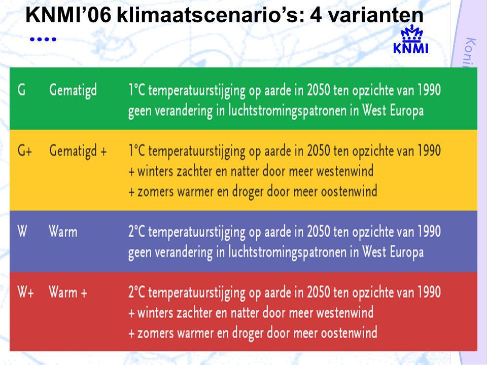 KNMI'06 klimaatscenario's: 4 varianten