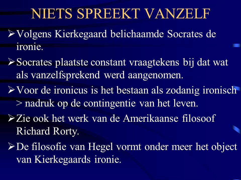 NIETS SPREEKT VANZELF  Volgens Kierkegaard belichaamde Socrates de ironie.
