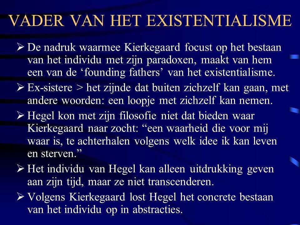 VADER VAN HET EXISTENTIALISME  De nadruk waarmee Kierkegaard focust op het bestaan van het individu met zijn paradoxen, maakt van hem een van de 'founding fathers' van het existentialisme.