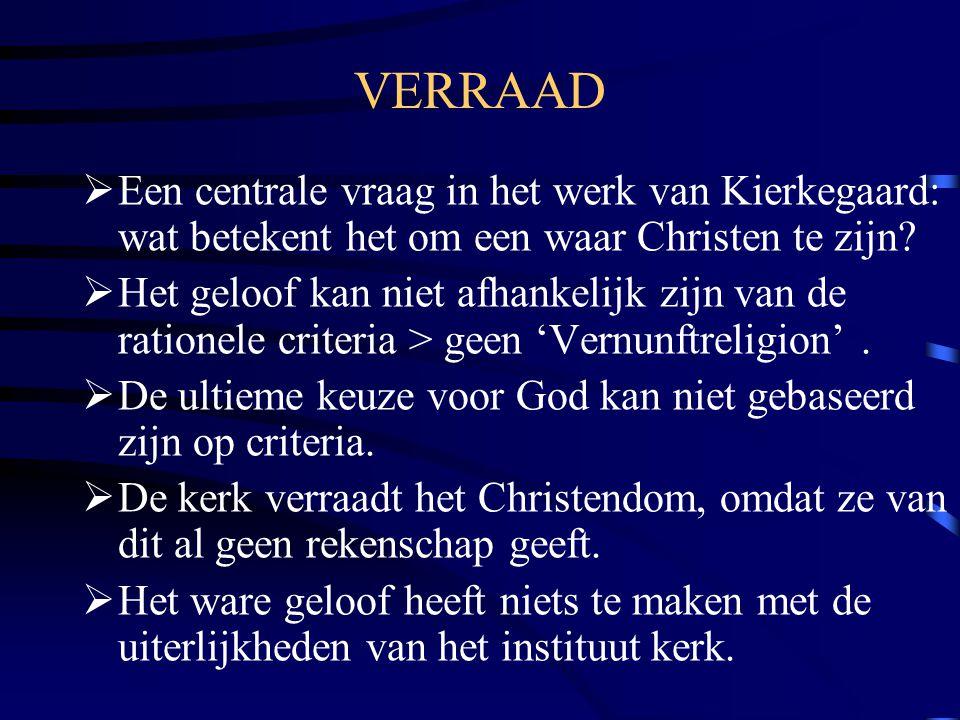 VERRAAD  Een centrale vraag in het werk van Kierkegaard: wat betekent het om een waar Christen te zijn.