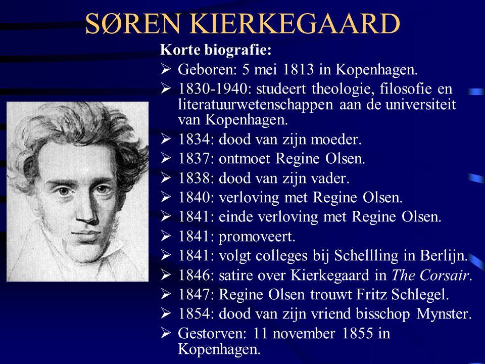SØREN KIERKEGAARD Korte biografie:  Geboren: 5 mei 1813 in Kopenhagen.