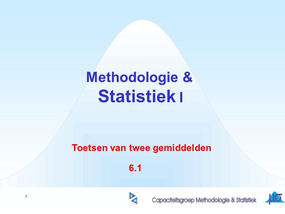 1 Methodologie & Statistiek I Toetsen van twee gemiddelden 6.1