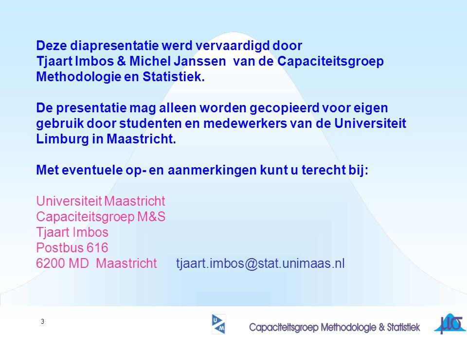 3 Deze diapresentatie werd vervaardigd door Tjaart Imbos & Michel Janssen van de Capaciteitsgroep Methodologie en Statistiek. De presentatie mag allee