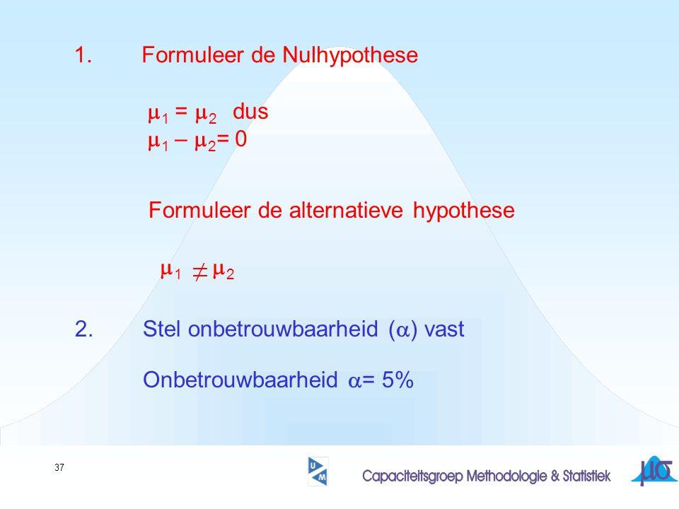 37 1.Formuleer de Nulhypothese  1 =  2 dus  1 –  2 = 0 2.Stel onbetrouwbaarheid (  ) vast  1  2 Formuleer de alternatieve hypothese Onbetrouwbaarheid  = 5%