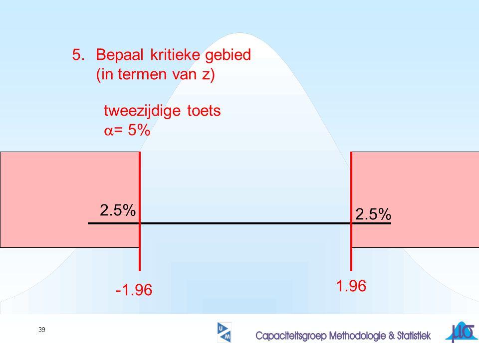 39 5.Bepaal kritieke gebied (in termen van z) tweezijdige toets  = 5% 2.5% -1.96 1.96