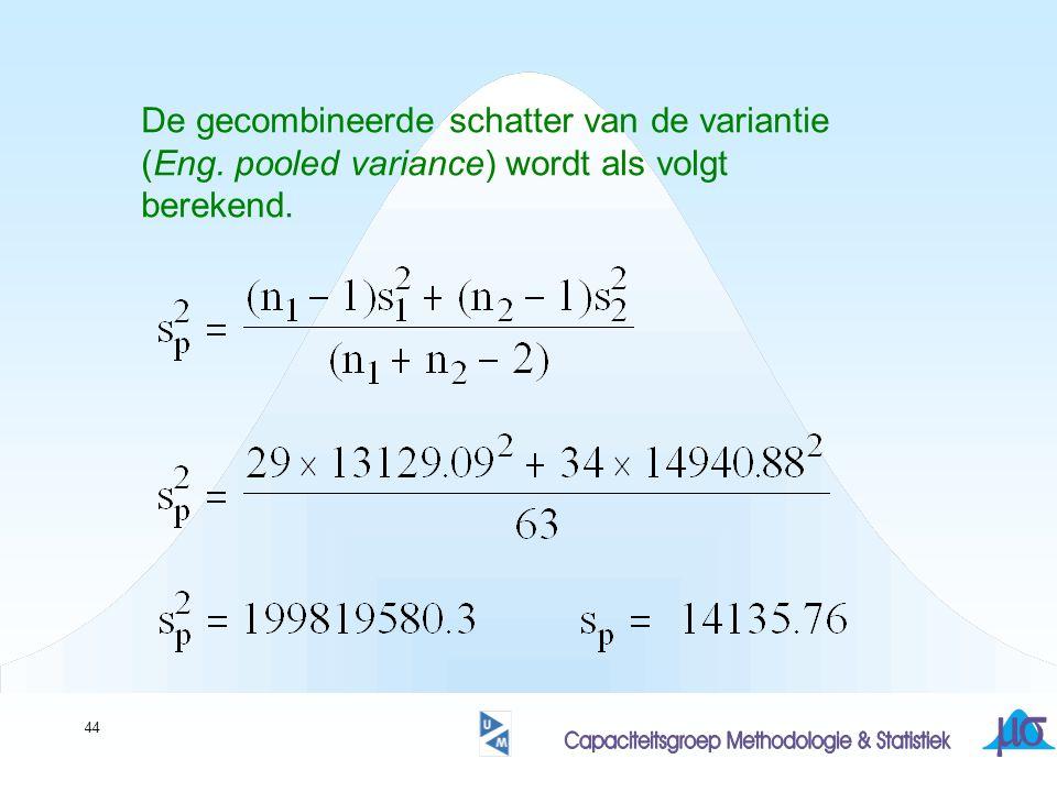 44 De gecombineerde schatter van de variantie (Eng. pooled variance) wordt als volgt berekend.