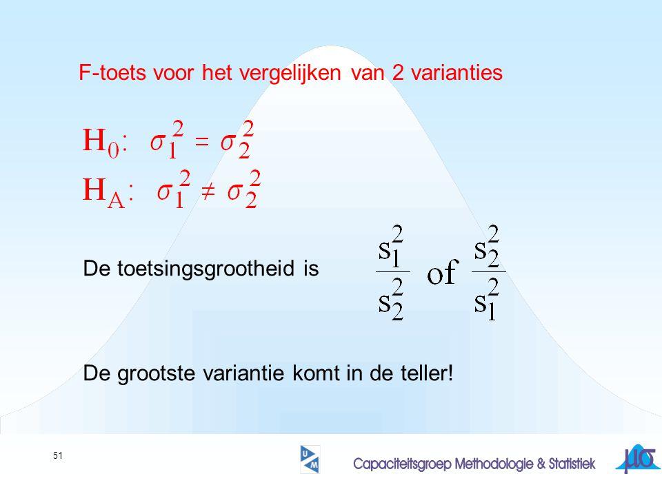 51 F-toets voor het vergelijken van 2 varianties De toetsingsgrootheid is De grootste variantie komt in de teller!