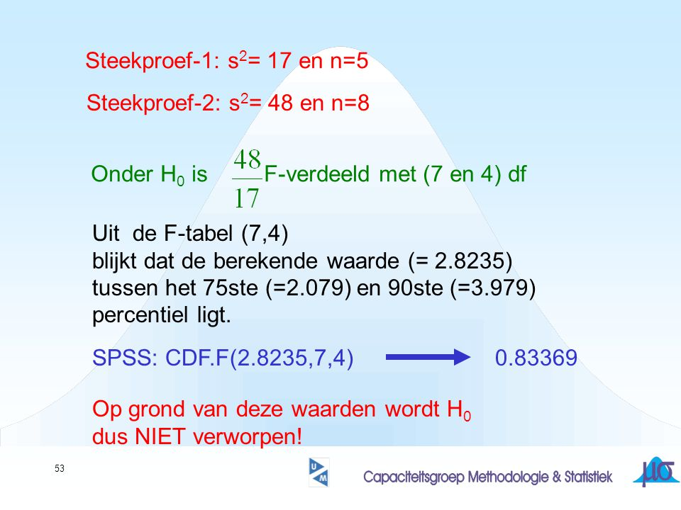 53 Steekproef-1: s 2 = 17 en n=5 Steekproef-2: s 2 = 48 en n=8 Onder H 0 is F-verdeeld met (7 en 4) df Uit de F-tabel (7,4) blijkt dat de berekende waarde (= 2.8235) tussen het 75ste (=2.079) en 90ste (=3.979) percentiel ligt.