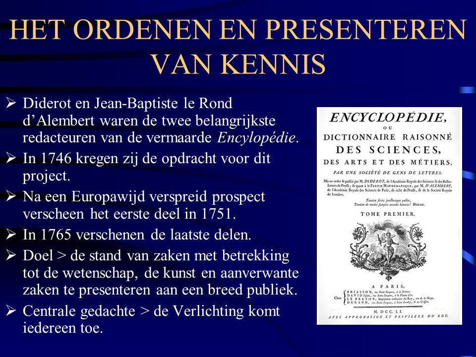 CENSUUR  Aan de Encylopédie werkten beroemde filosofen als Voltaire en Montesquieu mee.