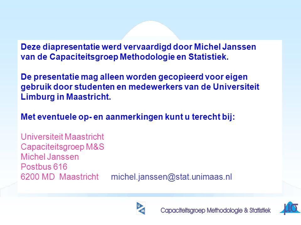 Deze diapresentatie werd vervaardigd door Michel Janssen van de Capaciteitsgroep Methodologie en Statistiek.