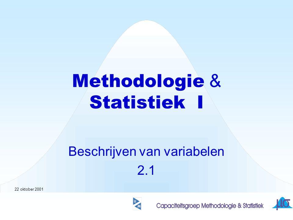Methodologie & Statistiek I Beschrijven van variabelen 2.1 22 oktober 2001