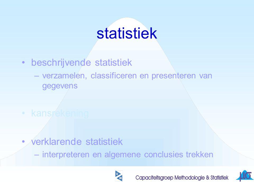 karakteriseren van uitkomsten-verzameling wat betreft ligging: centrum-maten + gemiddelde + mediaan + modus de middelste van alle waarnemingen