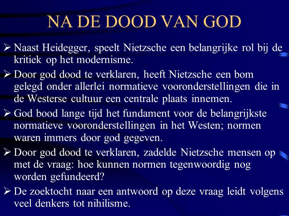 NA DE DOOD VAN GOD  Naast Heidegger, speelt Nietzsche een belangrijke rol bij de kritiek op het modernisme.  Door god dood te verklaren, heeft Nietz