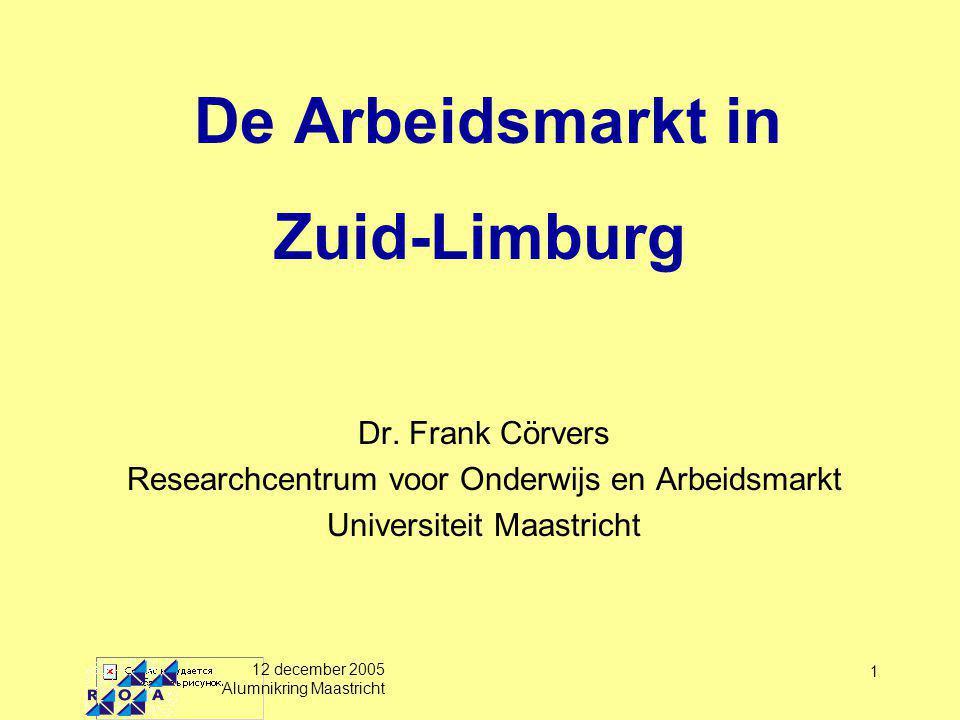 12 december 2005 Alumnikring Maastricht 1 De Arbeidsmarkt in Zuid-Limburg Dr.