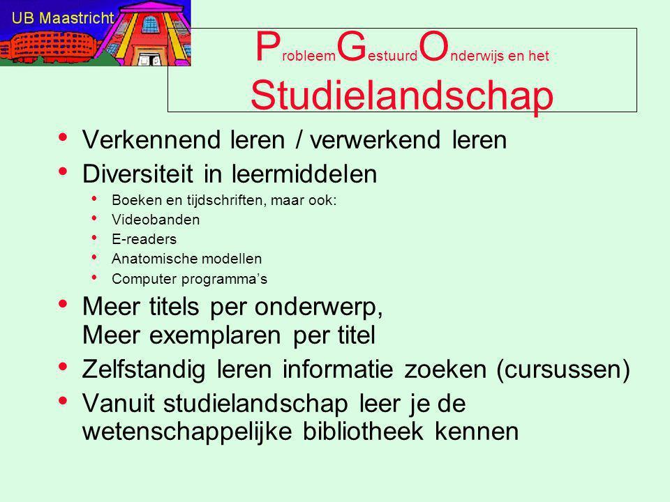 P robleem G estuurd O nderwijs en het Studielandschap Verkennend leren / verwerkend leren Diversiteit in leermiddelen Boeken en tijdschriften, maar oo