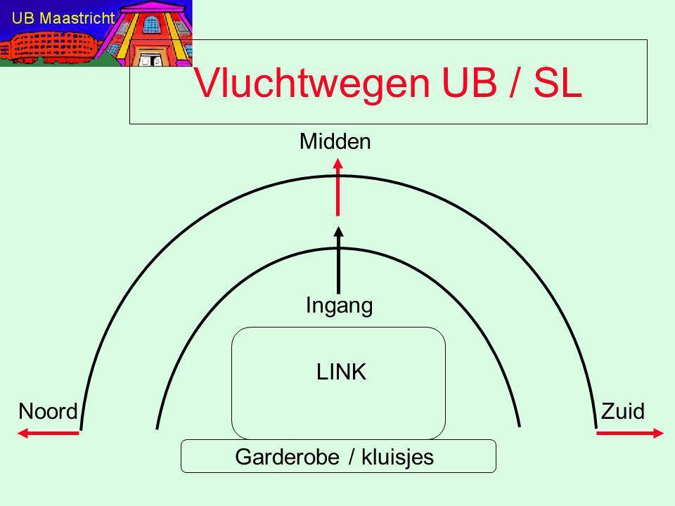 Vluchtwegen UB / SL Midden Zuid Ingang Garderobe / kluisjes LINK Noord