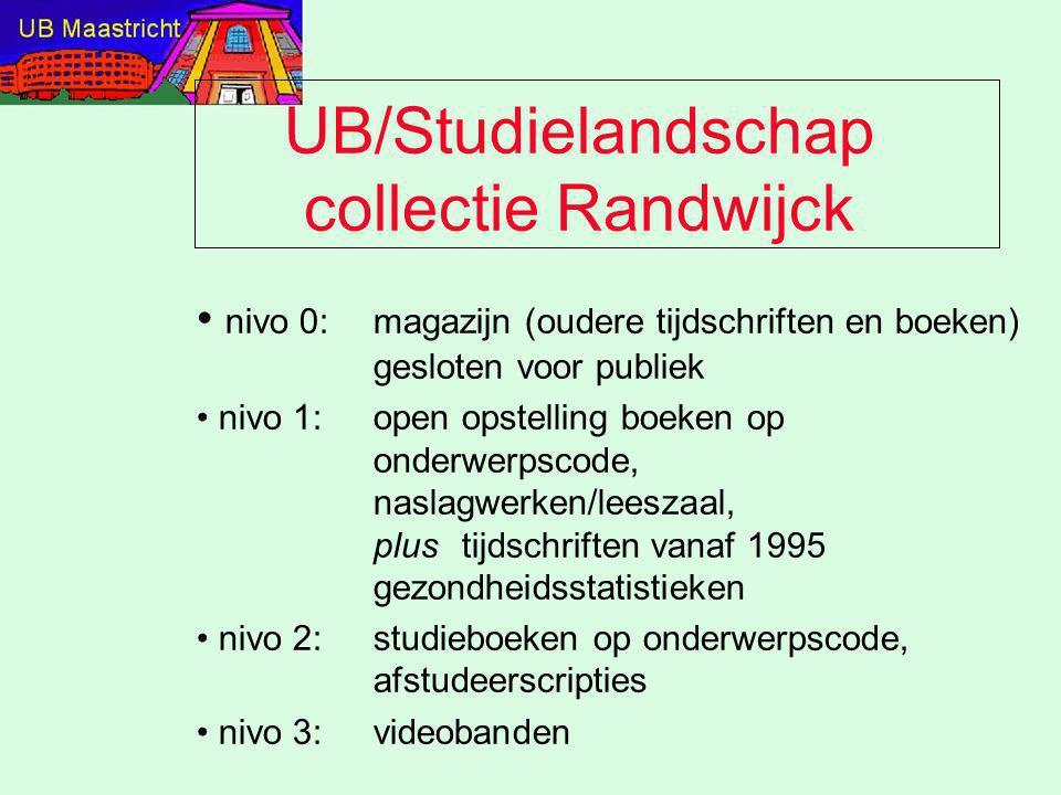 UB/Studielandschap collectie Randwijck nivo 0: magazijn (oudere tijdschriften en boeken) gesloten voor publiek nivo 1:open opstelling boeken op onderw