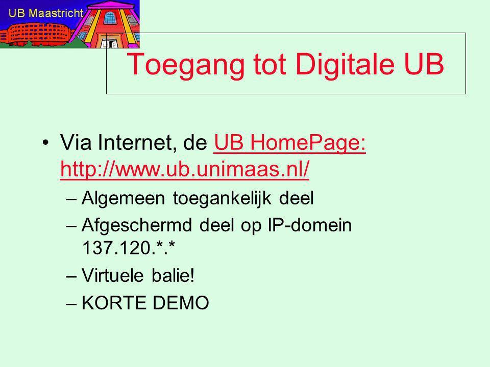 Toegang tot Digitale UB Via Internet, de UB HomePage: http://www.ub.unimaas.nl/UB HomePage: http://www.ub.unimaas.nl/ –Algemeen toegankelijk deel –Afg