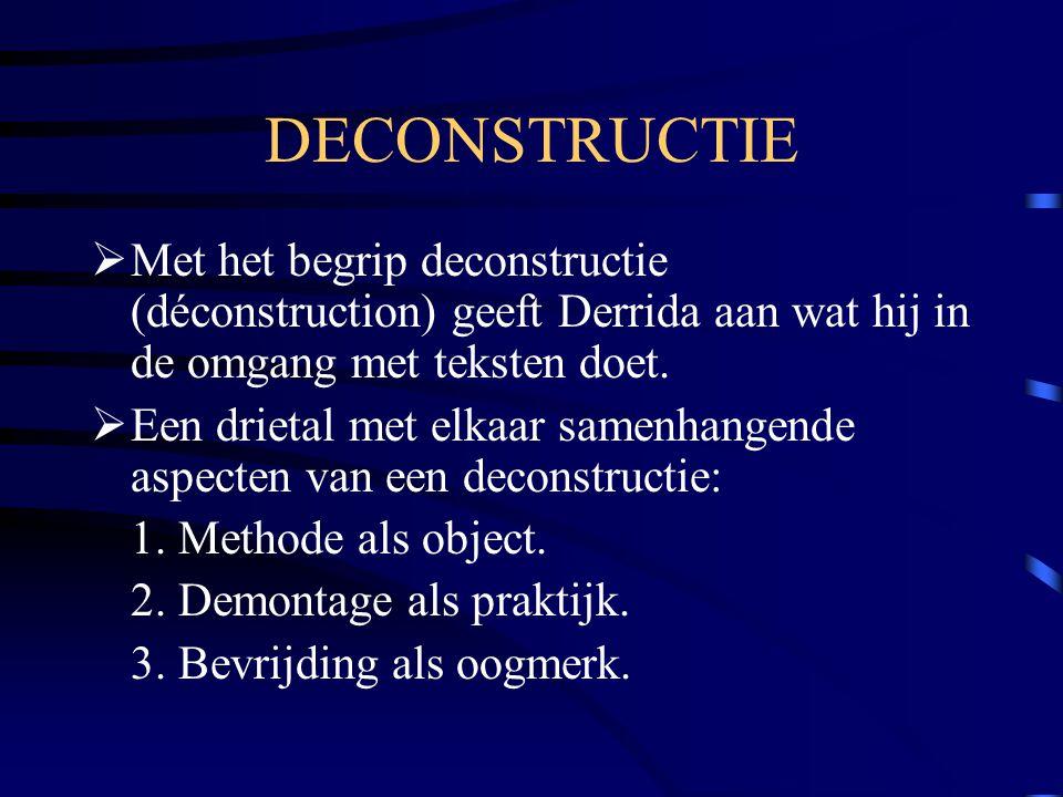 DECONSTRUCTIE  Met het begrip deconstructie (déconstruction) geeft Derrida aan wat hij in de omgang met teksten doet.  Een drietal met elkaar samenh