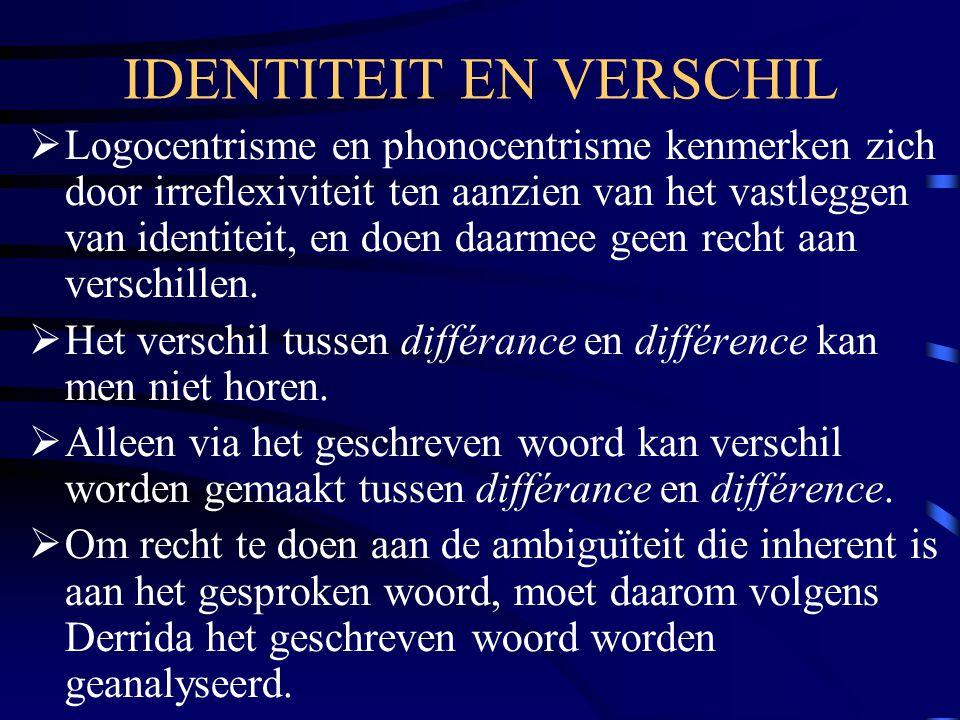 IDENTITEIT EN VERSCHIL  Logocentrisme en phonocentrisme kenmerken zich door irreflexiviteit ten aanzien van het vastleggen van identiteit, en doen da